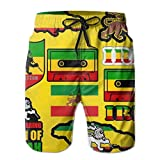 magic ship Herren Badehose Quick Dry Beach Badeshorts (Rasta Lion Jamaican Reggae Flag Map Magnetband)