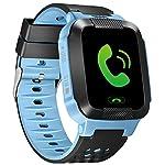 turnmeon 3,7cm Touchscreen Smart Watch Kids GPS Tracker mit SIM Anrufe Antiverlust SOS Kinder Smart Armband Finder Sicherheit Monitor Taschenlampe mit Eltern Kontrolle App für Universal Smartphone