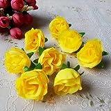 ricisung ca. 50Künstliche Rosen Köpfe 3cm Hochzeit Dekoration, gelb