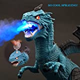 RIANZ Infrared Remote Control Walking Robot T-Rex Dinosaur with Wings + Head Movement Fire Dragon for Kids(Blue)