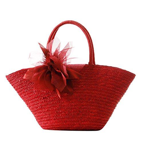 Dunland pochette borsa a mano donna ragazze giardino fiori di seta borsa paglia naturale borsa da a35 rosso