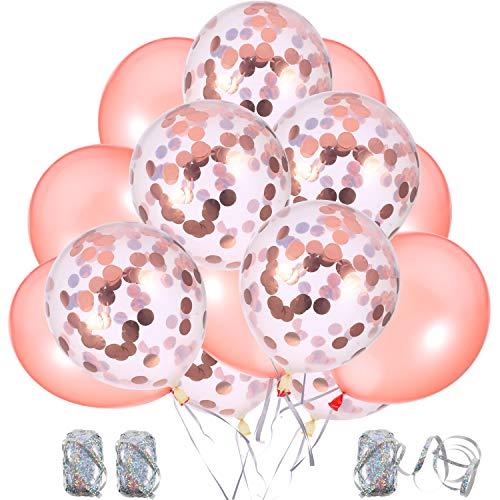(Hestya 50 Stück Rose Gold Serie Ballons Dekorationen mit 3 Rollen Bänder, 12 Zoll Pre-gefüllt Rose Gold Konfetti/ Latex Party Ballons)