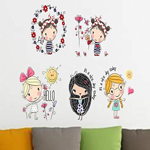 Wallfia Kleine Mädchen In Verschiedenen Ländern Dekoration Diy Büro Kinderzimmer Pvc Wohnzimmer Schlafzimmer Wasserdichte Wandaufkleber Geschenke Selbstklebende Wandbilder
