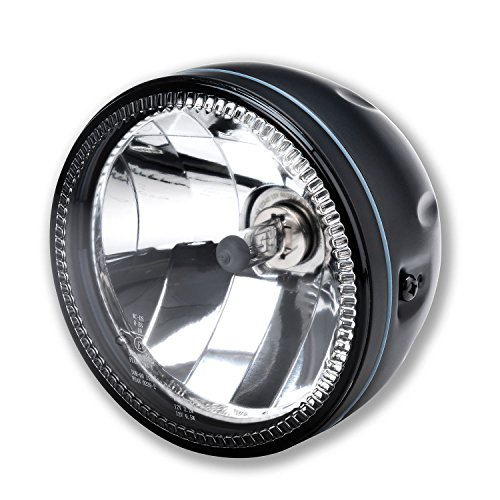 LED Motorrad Haupt Scheinwerfer Skyline LED Standlicht Ring H4 5 3/4 Zoll Klar Glas Schwarz Halogen Universal -