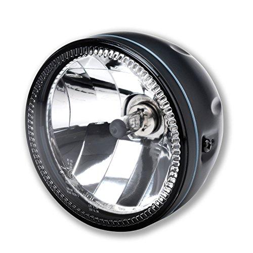 LED Motorrad Haupt Scheinwerfer mit LED Ring H4 Klar Glas Skyline 5 3/4 Zoll Schwarz Halogen