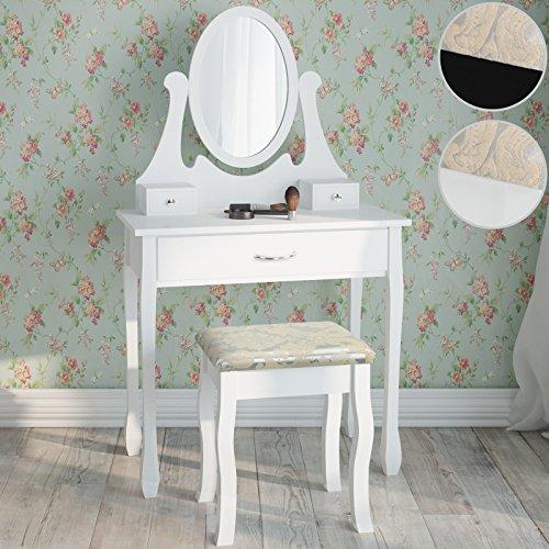 Miadomodo-Mesa-para-maquillaje-Tocador-escritorio-de-estilo-romntico-con-4-cajones-diferentes-colores-a-elegir