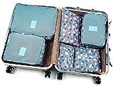 1 Satz Unisex Travel Verpackung Würfel Wasserdicht Oxford-Gewebe-Speicher-Beutel 6pcs Druck Verpackung Organizer Netz Verpackung Taschen Reise Zubehör-Blau