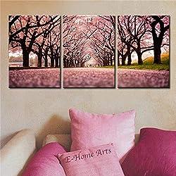 ChuanHan Moderne Art-Segeltuch-Malerei Schöne Kirschbäume in der Segeltuch 3Pcs,50 * 70 cm