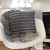 Kissen / Kissenbezug HELSINKI mit Inlet grau-schwarz 40 x 40 Boho Ethno