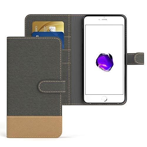 EAZY CASE Hülle für Apple iPhone 7 Plus / 8 Plus Hülle Bookstyle im Textil Look mit Standfunktion Book-Style Case Schutzhülle Denim Style Flipcase Flipcover mit 3 Kartenfächern Kunstleder Anthrazit