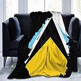 jrtyjrdtyj Mantas para Cama Blanket Throw Blanket Flag Map of Saint Lucia Fuzzy Blanket Easy Care Smooth Plush Blanket Carpet Ultra Comfortable Velvet Hanging Blanket for Sofa Living Room Bedroom