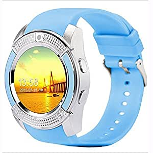 Bluetooth Smart Watch Compatible with 3G, 4G Phone With Sim & Tf Card Support With Apps Like Facebook And Whatsapp Touch Screen Multilanguage Android/Ios Mobile Phone Wrist Watch Phone With Activity Tracker And Fitness Band v9 Blue By JOKIN