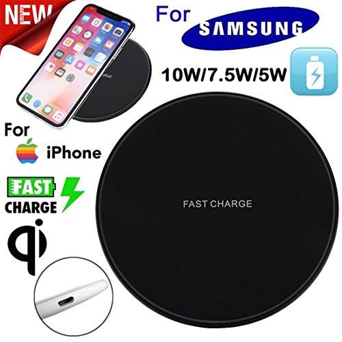 MMLC Dünne Gebühr Qi-drahtloses Aufladungsauflage für Samsung-Galaxie S9/S9 +/s8/s8 +/Anmerkung 8 iPhone x/8/8 Galaxie S7/S7 Rand LG V10 und Anderes Qi gefällig Gerät Wireless Charger (Schwarz)