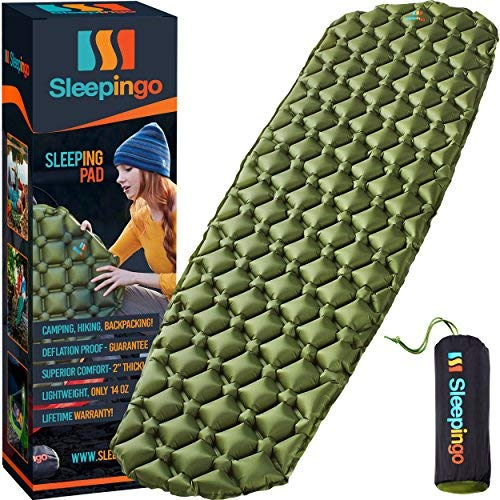 Sleepingo Camping Sleeping Pad - Mat (Large) Ultralight 14.5 OZ Best Sleeping Pads for Backpacking Hiking Air Mattress - Lightweight Inflatable & Compact Camp Sleep Pad -