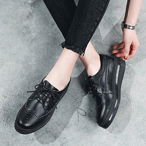 HWF Scarpe donna Primavera Platform Shoes Thick Bottom Scarpe da donna Bullock Single Casual Leather Shoes Female ( Colore : Beige , dimensioni : 37 ) Nero