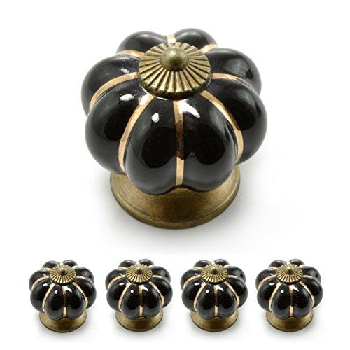 """Set Möbelknöpfe """"Krone"""" aus Porzellan mit antik Bronze Verzierung, (Set in vielen verschiedenen Farben erhältlich) Vintage Schrankknauf aus Keramik, Möbelgriff, Marke Ganzoo (4er SET, Schwarz)"""