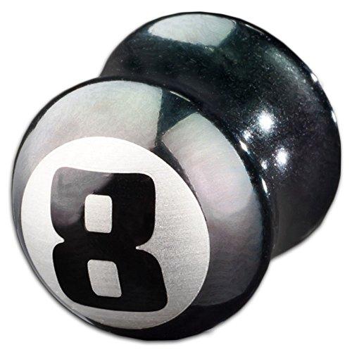 viva-adorno® 1 Stück Flesh Plug Double Flared Tunnel Eight Ball 8er Ball Chirurgenstahl Größe 3 - 12mm Z115, 6mm -