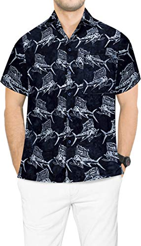 LA LEELA Männerarbeit klassischer zufällige tägliche Abnutzung regelmäßig Fisch fit Strand Hawaii-Hemd gedruckt Schwarz_AA173 XL-Brustumfang (in cms):121-132 -