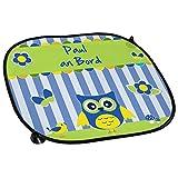 Auto-Sonnenschutz mit Namen Paul und schönem Eulen-Motiv für Jungs - Auto-Blendschutz - Sonnenblende - Sichtschutz