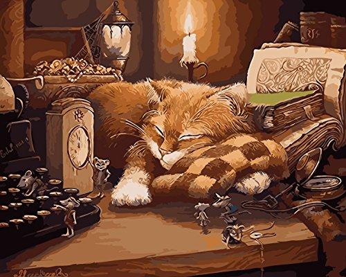 TianMai Malen nach Zahlen - Lazy Cat und Maus, Buch 16 * 20 Zoll Leinen Segeltuch DIY Farbe durch Zahl DIY Segeltuch-Kit für Erweiterte Erwachsene Kinder Senioren Junior (Ohne Frame) (Farbe Erwachsene Bücher Zahl Für Durch)