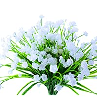 Lobeve Artificial Flowers of 6 Bundles, Fake  Plastic Plants, Faux Daffodils for Window Box Home Patio Yard Indoor Garden Light Office Wedding Decor-White