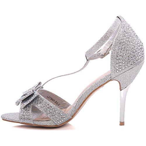 Unze Für Frauen Mischka ' Bow Accented Sandalen - T33-6 Silber