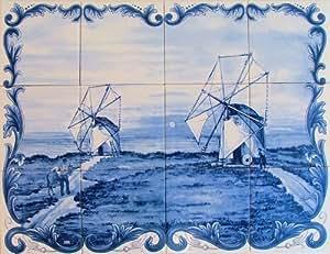 Panneau Mural Peint pour cuisine, salle de bain ,entrée de maison... - 60x45cm (12 carreaux de 15x15cm) – Peinture sur faience émaillée