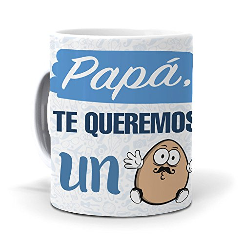 mundohuevo Taza Papá, te Queremos un Huevo día del Padre