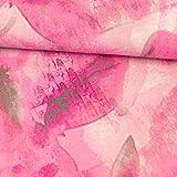 Stoffe Werning Viskosejersey grafische Blumen pink grau