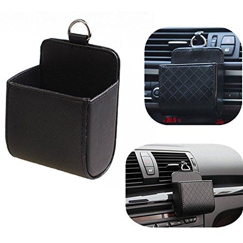 Chytaii Kunstleder Auto Klimaanlage Ausgang Tasche Sack Beutel Für Handy Schlüssel Geldbeutel Tassen Cubby Box (Schwarz) -