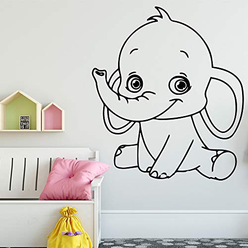TYLPK Cartoon Elefant Vinyl Wandaufkleber Kinder Schlafzimmer Dekoration Zimmer Wandtattoo Wandbild Wandaufkleber braun 30X34 CM