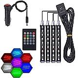 LED Néon Ruban 12V USB Allume Cigare Multicouleur Auto Musique Contrôle Tuning 4 bandes de 9 LED RGB avec 7 Couleurs Néon Bandeau Lumineux pour Voiture Eclairage Intérieur Décoration pour Voiture