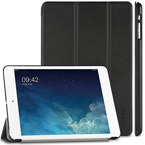 EasyAcc Ultra Slim Apple iPad mini 1 / 2/ 3 Hülle Ledertasche Flip Case Smart Cover mit Wake up und Standfunktion für iPad mini/ iPad mini 2/ iPad mini 3 (2014) - Schwarz, Kunstleder, Ultra Dünn. (Apple 2 Mini Ipad Case Smart)