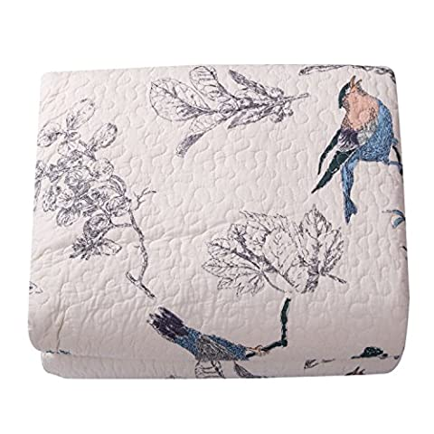 Beddingleer King Size 100% Cotton Flying Birds Printing Quilted Patchwork Bedspread Throw Set, Set of 3(Quilted