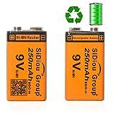 Sidiou Group 250mAh 9v Batería de níquel-metal hidruro(NiMH) recargable Batería recargable de...