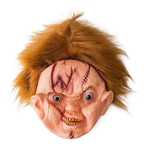 Lorenory Ghost Doll Maske Halloween Party Maske Dekoration Requisiten mit Haarnarben Ghost Baby Maske Halloween Requisiten - Gruselig Baby Doll Kostüm
