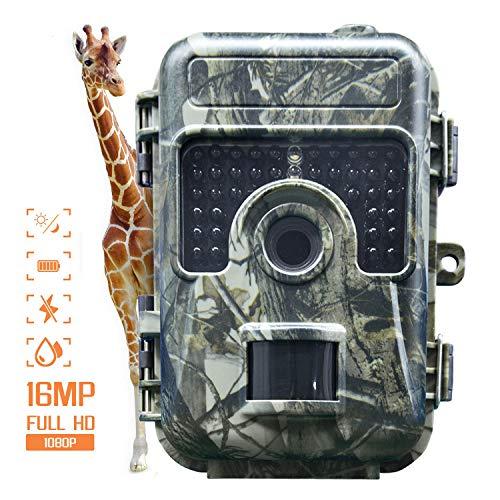 Digitale Hinterkamera,IP66 Wildlife Trail-Kamera 16MP 1080P Wildlife-Kamera mit 120° Weitwinkel-Jagdkamera 0.3s Triggergeschwindigkeit Nachtversion Spielkamera für Wildlife Monitoring&Home Security