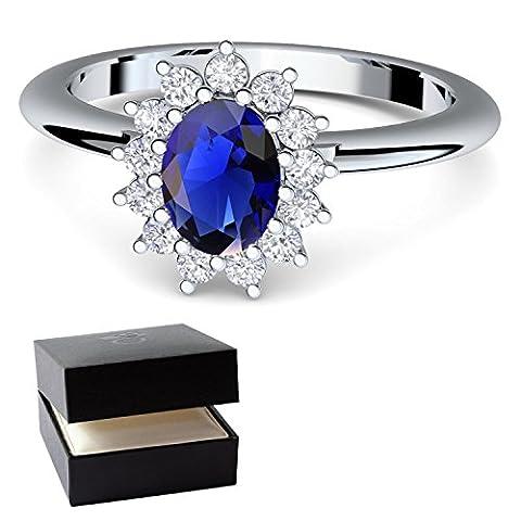 ***Verlobungsring blauer Stein Saphir von AMOONIC mit SWAROVSKI Zirkonia (wie Kate Middleton) + inklusive Gratis LUXUSETUI! Silber 925 Saphir Ring Silberring 925er FF587SS925SAFAZIFA56