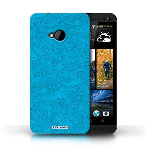 Kobalt-swirl (KOBALT® Hülle Case für HTC One/1 M7 | Türkis Entwurf | Blatt-Strudel-Muster Kollektion)