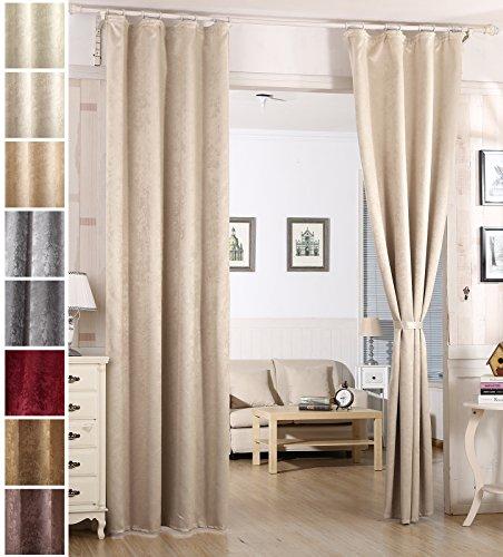 Woltu vh5886cm-b tenda oscurante tende drappeggio con asole finestra soggiorno parete 100% poliestere tessuto stampato termica isolante pesante crema 135x245 cm