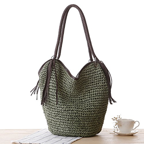 Reißverschluss Stroh (BAGEHUA Stroh Tasche Reißverschluss geflochtene Beach Bag Schulter Hand gewebten Beutel für Frauen Armee Grün)