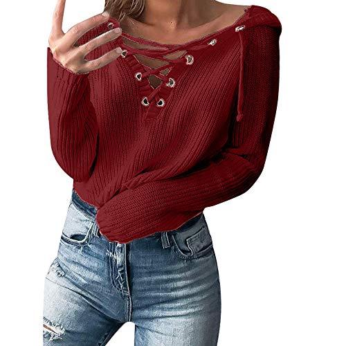 Btruely Hoodies Pullover Damen V-Ausschnitt Winter Herbst Sweatshirt Oversized Jumper Gestrickte Langarmshirt Tunic Langarm Sweater
