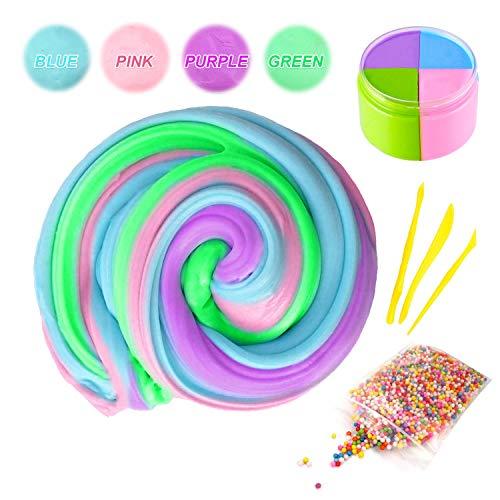 Flauschige Schleim Fluffy Slime, Swallowzy Flauschige Floam Schleim Kit Mix Farbe 6 Unze (4 Farbe) Fluffy Schleim mit Schleim-Tools und Schaumbälle