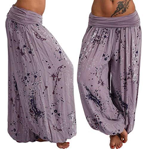 KIMODO® Damen Nationaler-Stil-gedruckt Haremshose Frauen lose Breite Bein Pumphose Lässig Sommerhose Pants Große Größen -