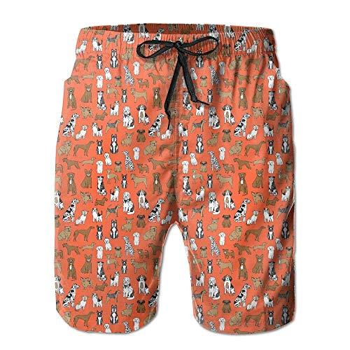 ARTOPB Dogs Pet Dog Orange Puppy Breeds Men Summer Beach Boardshorts,L -