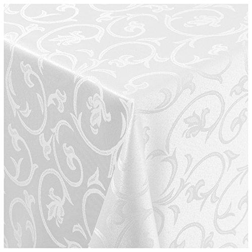 Moderno, tovaglia damascata, non ha bisogno di essere stirata, con ornamento barocco, jacquard, personalizzabile, 100% poliestere, bianco, oval 160cmx280cm