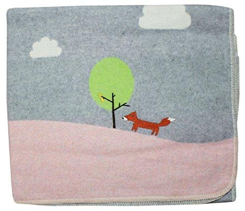 David Fussenegger 67435779 Babydecke Juwel mit Stickerei ''Fuchs'' Hellblau, 70 cm x 90 cm (Euro Tagesdecke)
