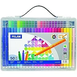Milan 0615350Y - Maletín transparente con 50 rotuladores