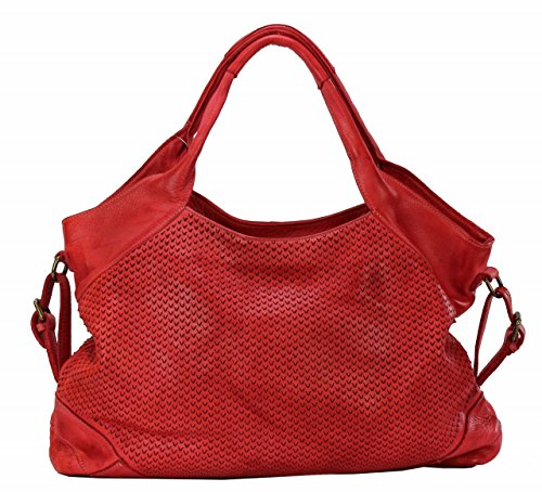 BZNA Bag Tia Rot red Italy Designer Damen Handtasche Schultertasche Tasche Leder Shopper Neu