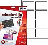 Avery 80 Cartes de Visite à Bords Lisses - 85x54mm - Impression Jet d'Encre - Blanc (C32015)